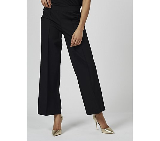 Isaac Mizrahi Live 24/7 Stretch Wide Leg Trousers Front Pintucks Regular