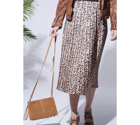 Helene Berman Caramel Animal Printed Midi Skirt