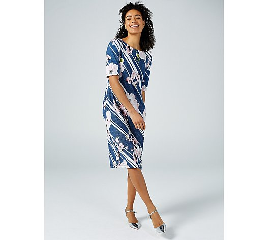 Ronni Nicole Floral Print Elbow Sleeve Dress