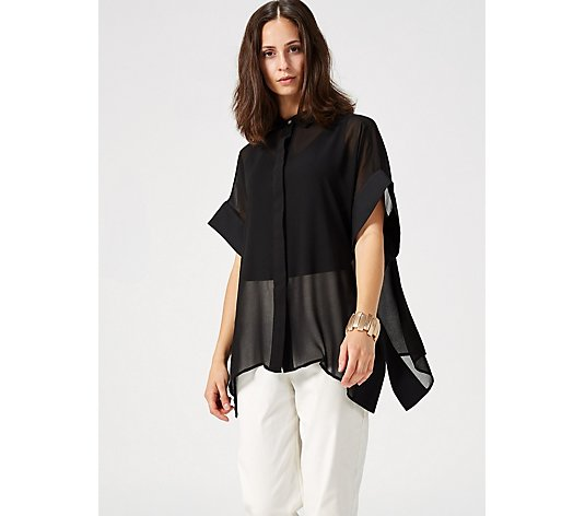 WynneLayers Button Front Sheer Poncho Shirt