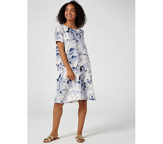 Outlet Luca Vanucci Linen Printed Swing Dress