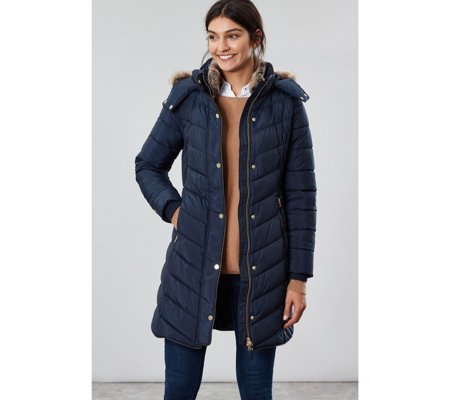 Joules Cherington Chevron Quilted Padded Coat with Hood