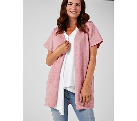 Knitted Lurex Short Sleeve Cardigan by Michele Hope