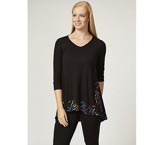 Antthony Designs 3/4 Sleeve Tunic with Printed Lace Hem
