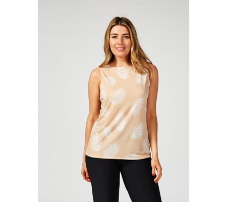 Antthony Designs Sleeveless Feather Print Top