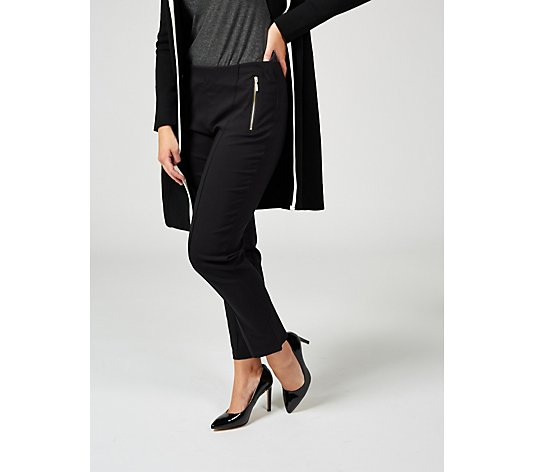 Millennium Petite Narrow Leg Trousers with Exposed Zips by Nina Leonard