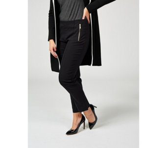 4db13dff508 Millennium Petite Narrow Leg Trousers with Exposed Zips by Nina Leonard -  175658