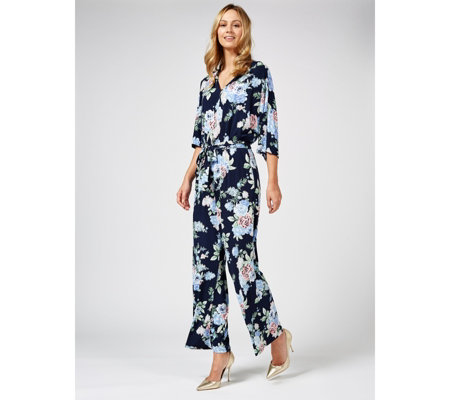 Dolman Sleeve Jumpsuit with Tie Belt Regular by Nina Leonard