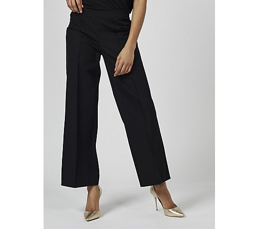 Isaac Mizrahi Live Stretch Wide Leg Trousers with Front Pintucks Petite