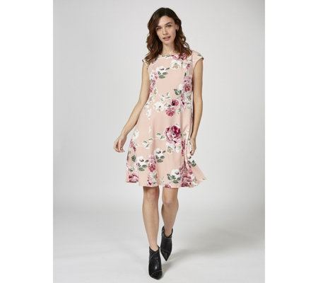 Ronni Nicole Floral Print Dress with Flared Skirt