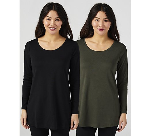 Isaac Mizrahi Live Essentials Silky Pima Scoop Pack of Two Swing Tunic