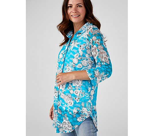 Print Lace Shirt with Back Vent by Michele Hope