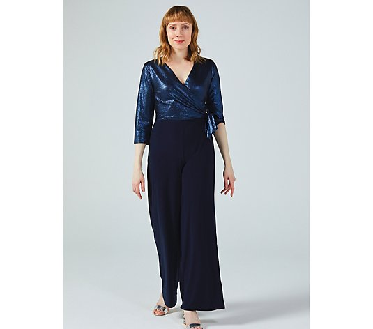 Tie Side 3/4 Sleeve Wide Leg Jumpsuit with Knit Top by Nina Leonard