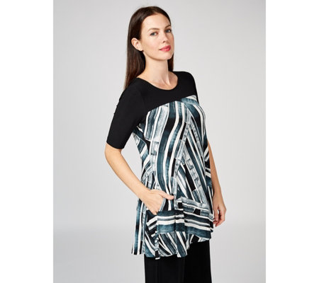Printed Trapeze Tunic with Side Seam Pockets by Nina Leonard