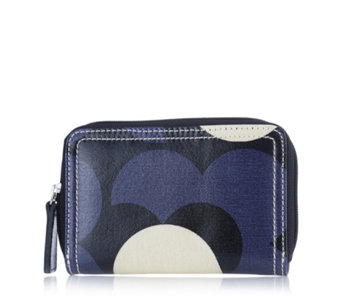 Orla Kiely Shiny Laminated Shadow Flower Medium Zip Wallet - 168659
