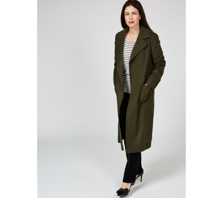 Helene Berman Wool Blend Edge To Edge Coat