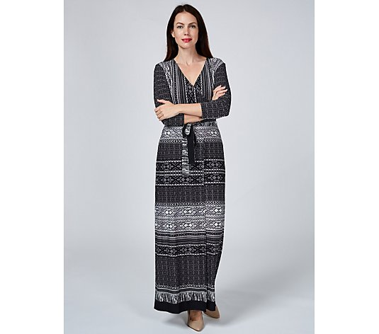 Attitudes By Renee 3/4 Sleeve Jersey Faux Wrap Petite Maxi Dress