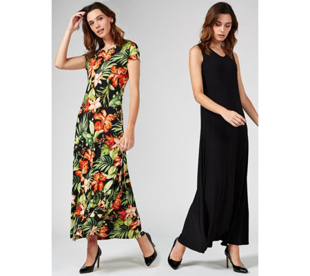 Attitudes by Renee Set of Two Print and Plain Maxi Dresses Regular