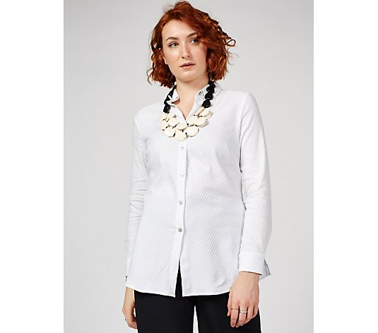 Outlet MarlaWynne Chevron Texture A Line Shirt with Side Slits