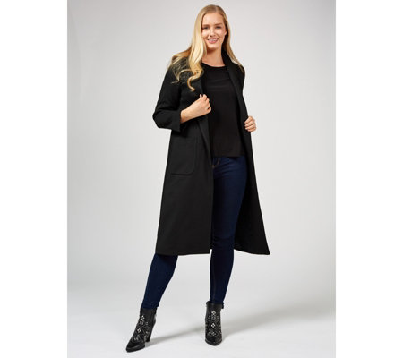 Helene Berman Jersey Longline Coat with Slim Tux Collar