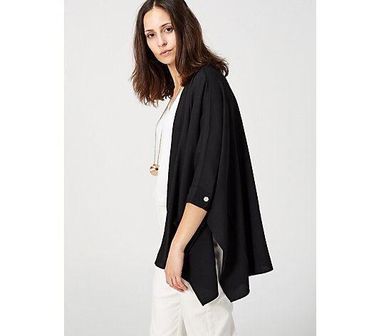 WynneLayers Open Crepe Cardigan with Chiffon Pockets