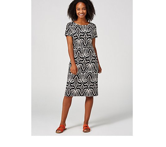 Ronni Nicole Short Sleeve Puff Print Dress