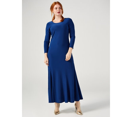 Attitudes By Renee Long Sleeve Como Jersey Godet Maxi Dress Petite