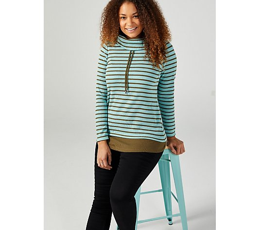 Denim & Co. Waffle Knit Stripe Tunic