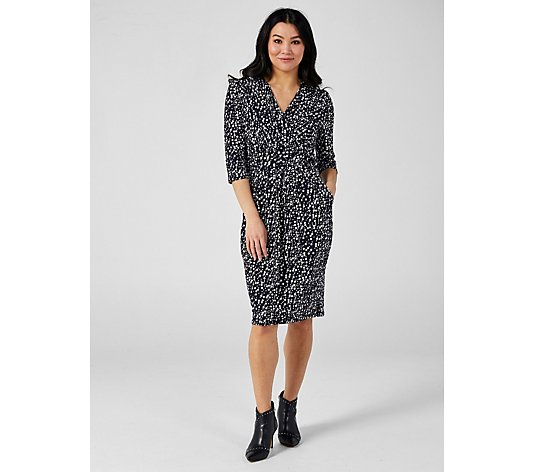 J by Jolie Moi Printed Wrap Front Knee Length Dress