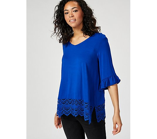 Together Frill Sleeve Lace Hem Top