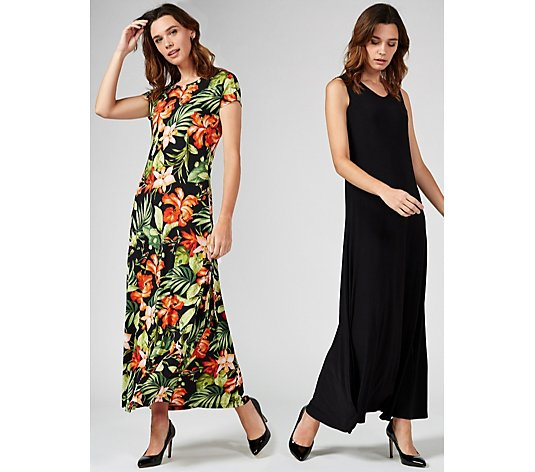 Attitudes by Renee Set of Two Print and Plain Maxi Dresses Petite