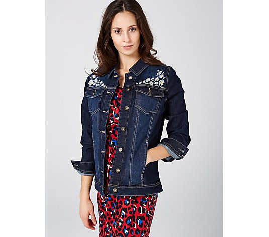 Denim & Co. Jean Jacket with Daisy Embroidery