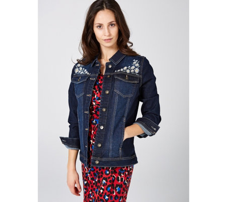 16bbb0b3e2 Denim & Co. Jean Jacket with Daisy Embroidery - QVC UK