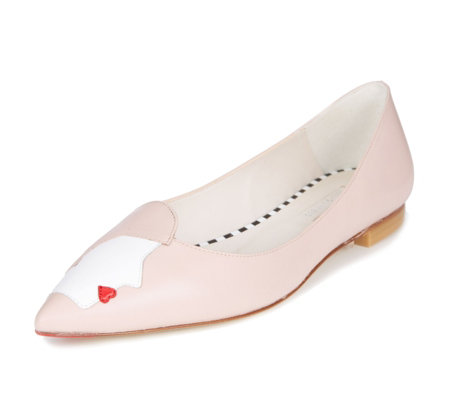 Lulu Guinness Kissing Cameo Simone Flat Court Shoes