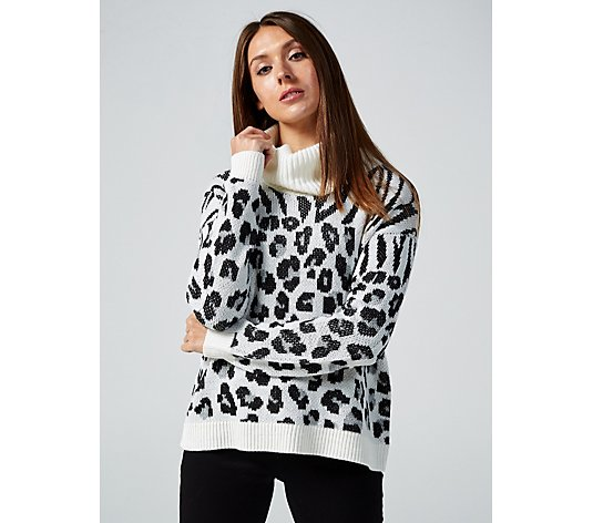 Absolutely Famous Animal Jacquard Cowl Neck Top
