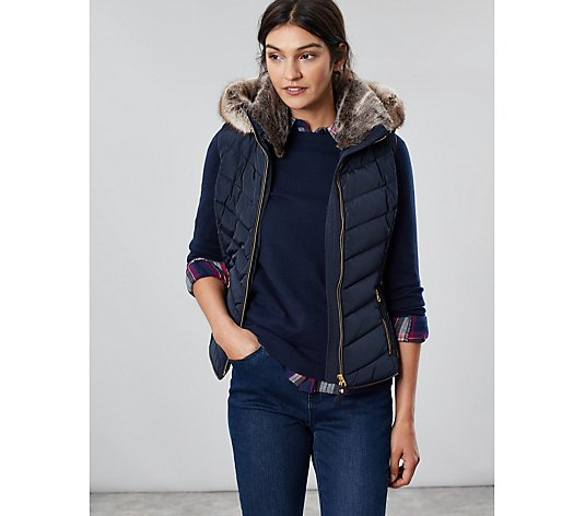 Joules Maybury Chevron Quilted Padded Gillet with Hood