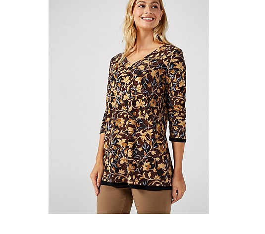 Renee's Reversible Como Jersey Printed V Neck Tunic