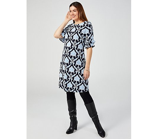 Ronni Nicole Puff Print Elbow Sleeve Dress