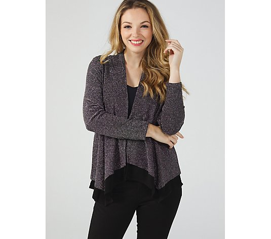 Long Sleeve Layered Glitter Sparkle Cardigan by Michele Hope