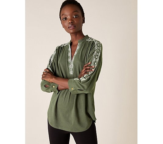 Monsoon Edie Embroidered Long Sleeve Top