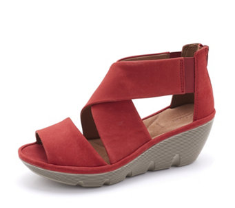 Clarks Clarene Glamour Wedge Heel Sandal Wide Fit - 163261