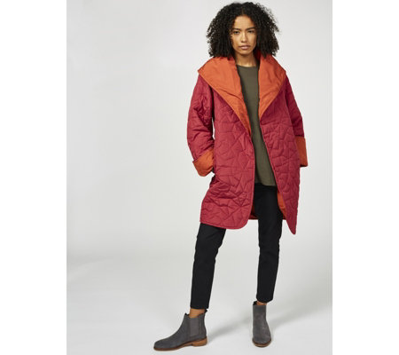 MarlaWynne Lightweight Reversible Shawl Collar Quilted Coat