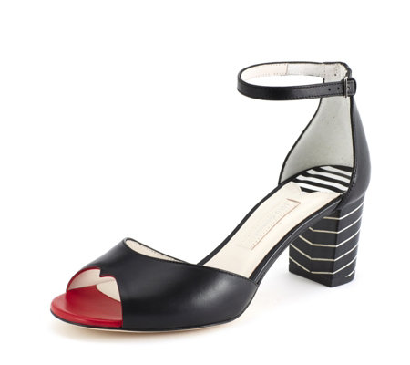 Lulu Guinness Red Lips & Stripes Faye Heeled Sandal