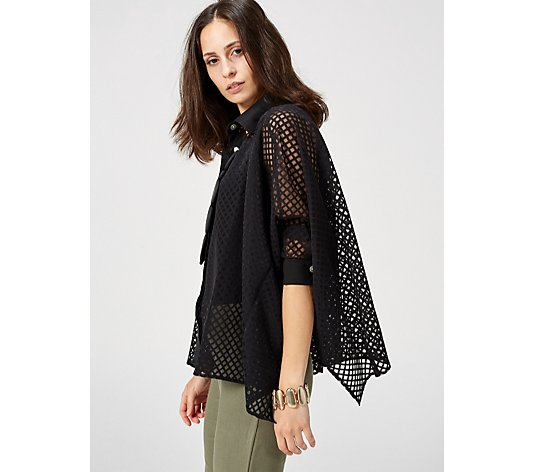 WynneLayers Mesh Button Front Poncho Blouse