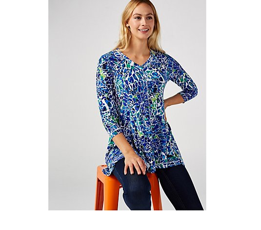 Attitudes by Renee Como Jersey Godet Tunic with Seaming Detail