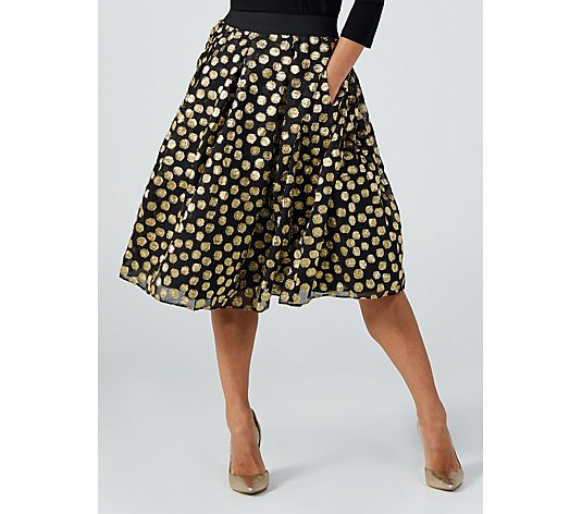 Ronni Nicole Gold Dot Skirt with Elasticated Waist