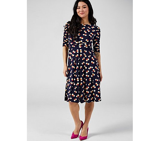 J by Jolie Moi Print Ruched Sleeve Midi Dress