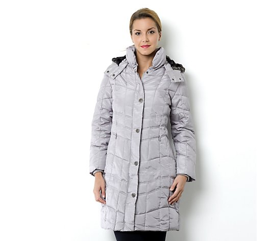 Centigrade Iridescent Poly Fill Padded Coat with Faux Fur Hood
