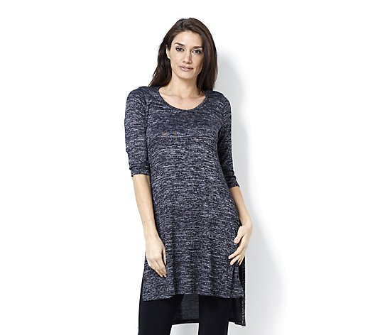 Chelsea Muse by Christopher Fink Hacci Knit Longline Tunic with Side Slits