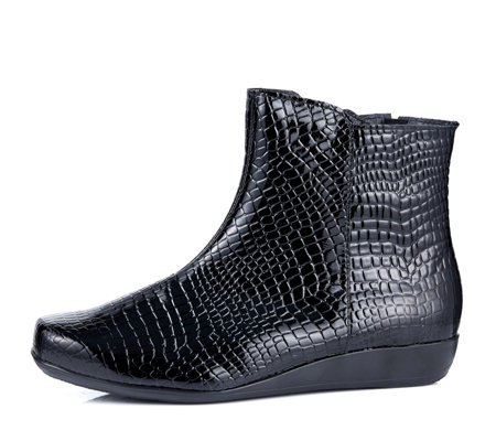 Vitaform Stretch and Patent Leather Wedge Ankle Boot